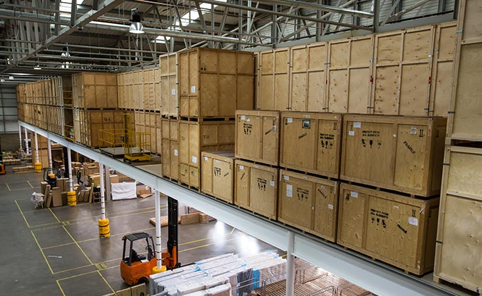 Self storage containers on mezzanine floor